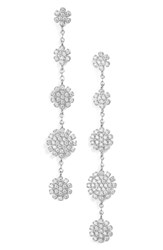 Nordstrom Pave Starburst Drop Earrings Clear Silver