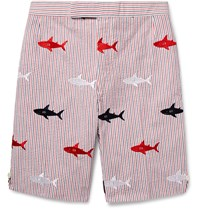 Thom Browne Shark Embroidered Striped Cotton Seersucker Shorts Navy