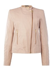 In Wear Collarless Leather Jacket Rose