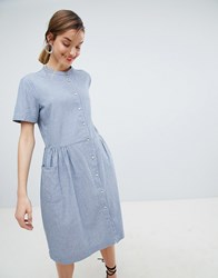 Selected Stripe Shirt Dress Blue