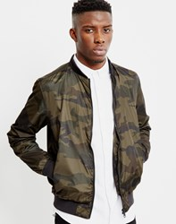 The Idle Man Camo Bomber Jacket Khaki