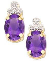 Macy's 10K Gold Amethyst And Diamond Accent Earrings