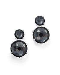 Ippolita Sterling Silver Rock Candy Two Stone Doublet Drop Earrings In Clear Quartz And Hematite Black Silver