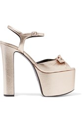 Saint Laurent Bow Embellished Metallic Textured Leather Platform Sandals Platinum