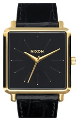Nixon 'The K Squared' Leather Strap Watch 32Mm X 30Mm Black Gold