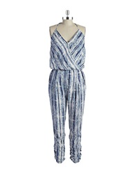 Design Lab Lord And Taylor Tribal Jumpsuit Blue White