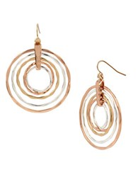 Robert Lee Morris Layered Sculptural Rings Drop Earrings Tri Tone