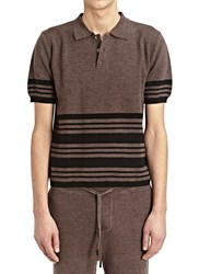 J.W.Anderson J.W. Anderson Knitted Stripe Polo Shirt Brown