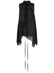 Vera Wang Gathered Tie Neck Shirt Black