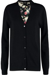 Mcq By Alexander Mcqueen Wool And Printed Silk Cardigan Black