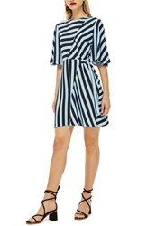 Topshop Diagonal Stripe Minidress Blue Multi