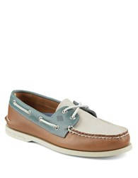 Sperry Authentic Original Leather 2 Eye Sarape Boat Shoes Tan Ivory