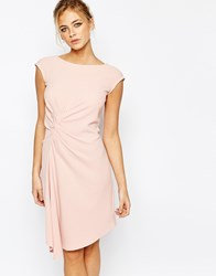 Closet Midi Dress With Cap Sleeve And Gathers Pink