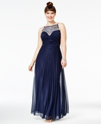 B. Darlin B Trendy Plus Size Crystal Embellished Pleated Gown Navy Ab