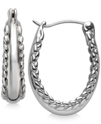 Nambe Textured Edges Hoop Earrings In Sterling Silver Only At Macy's