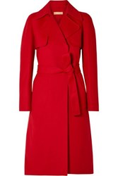 Michael Kors Collection Wool Trench Coat Red