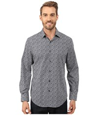 Perry Ellis Non Iron Travel Luxe Floral Print Shirt Dark Sapphire Men's Long Sleeve Button Up Blue
