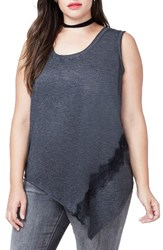 Rachel Roy Plus Size Women's Lace Trim Asymmetrical Tank Heather Grey