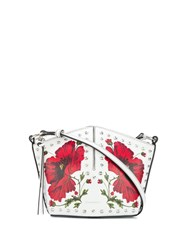 Alexander Mcqueen Floral Studded Crossbody Bag White