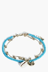 Boohoo Libby Bead And Chain Shell Bracelet Blue