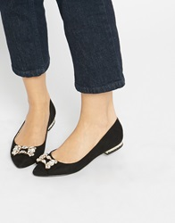 Oasis Embellished Pointed Flat Shoes Black