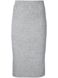 Estnation Fitted Pencil Skirt Women Cotton 38 Grey