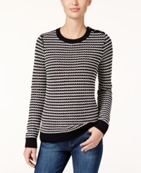 Charter Club Petite Striped Sweater Only At Macy's Deep Black Combo