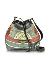 Gattinoni Planetarium Coated Canvas And Leather Bucket Bag Multicolor