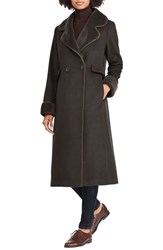 Lauren Ralph Lauren Wool Blend Faux Shearling Trim Coat Military Green