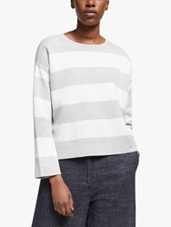 Eileen Fisher Organic Cotton Stripe Jumper Dark Pearl White