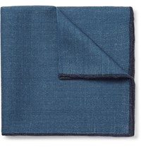 Drakes Drake's Contrast Tipped Wool Pocket Square Blue