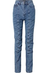 Y Project Paneled High Rise Straight Leg Jeans Mid Denim