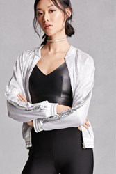 Forever 21 Pleated Metallic Bomber Jacket Silver