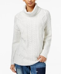 Tommy Hilfiger Cable Knit Turtleneck Sweater Snow White