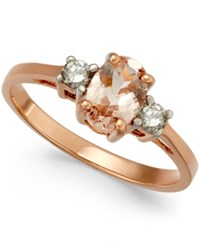 Macy's Morganite 3 4 Ct. T.W. And Diamond 1 6 Ct. T.W. Ring In 14K Rose Gold