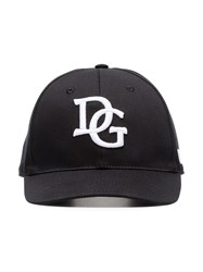 Dolce And Gabbana Black White Dg Logo Baseball Cap