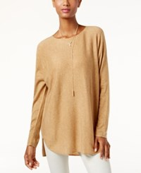 Inc International Concepts High Low Sweater Only At Macy's Heather Ginger