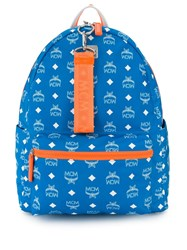 Mcm Logo Print Backpack Blue