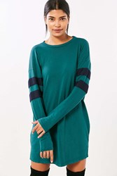 Truly Madly Deeply Oversized Varsity Stripe T Shirt Dress Green Multi