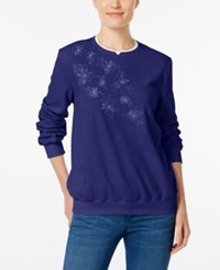 Alfred Dunner Embroidered Fleece Sweater Royal