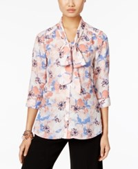 Ny Collection Petite Tie Neck Bow Blouse Pink Rosepaint