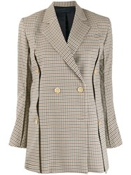 Eudon Choi Checked Double Breasted Blazer Neutrals