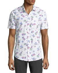 Report Collection Sailboat Print Short Sleeve Shirt White