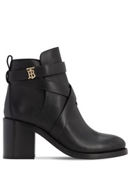 Burberry 70Mm Pryle Leather Ankle Boots Black