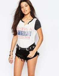 Abercrombie And Fitch Ringer Tee With Retro Logo White