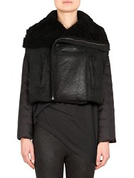 Rick Owens Shearling Down Filled Biker Jacket Black