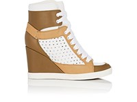 See By Chloe Women's Leather Wedge Sneakers White Tan Green Dark Green