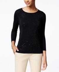 Charter Club Rhinestone Sweater Only At Macy's Deep Black