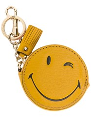 Anya Hindmarch Wink Coin Purse Keyring Women Leather Metal One Size Yellow Orange