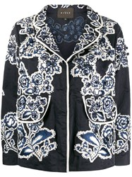 Biyan Embroidered Fitted Jacket Blue